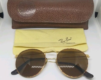 280748950e53 VINTAGE B L RAY BAN W2186 Gold Tortuga Arista b15 Round sunglasses 24k  Plated