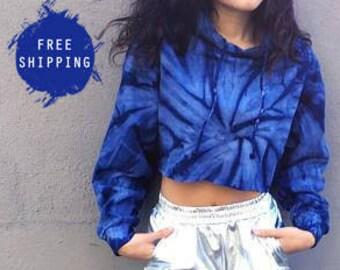Tie Dye Cropped Hoodie Tiedye Sweatshirt Women's Clothing Hoodie Crop Top Tie Dye Hoodie Pullover «« CD877navy «« (crop, td pullover) ««