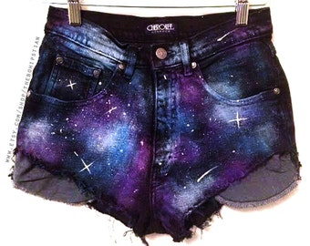 Galaxy High Waisted Denim Shorts • High Waste Shorts • Women s Clothing •  Trendy Hipster Fashion • Summer Music Festival Clothing ««« 00POE b0ed96b925bb