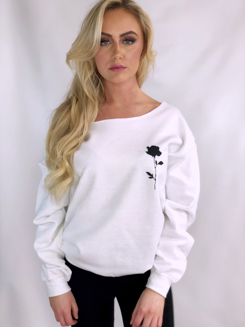 Rose Sweatshirt Off The Shoulder Top Womens Sweatshirt Single Rose Sweater Gifts For Her Tumblr Sweatshirts Festival Womens Clothing