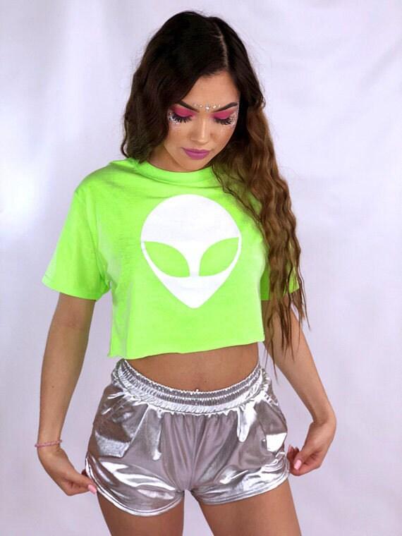 Fluo Alien Crop Top \u2022 tenue Rave \u2022 Festival vêtements \u2022 Neon chemise \u2022  femmes vêtements \u2022 Tumblr Tee \u2022 vêtements Rave \u2022 cadeaux pour elle