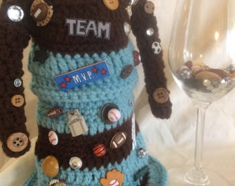 Drunken Dresses TM Wine Bottle Cover, sports inspired, home decor, gift, bottle bling, valentine gift, easter gift