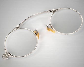 e5aa18a2e53c Art Deco folding lorgnette pince nez eyeglasses spectacles 14k white