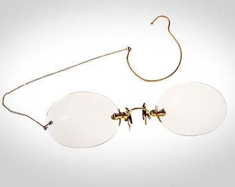 4b70dfb40ed Pince Nez eyeglasses gold filled w hard case   ear chain