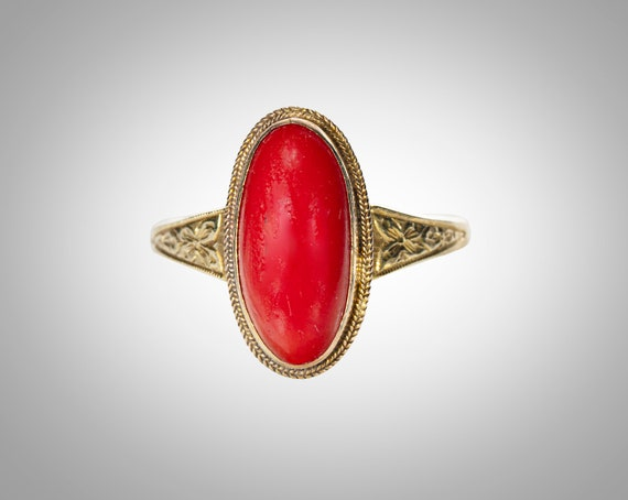 Victorian 18k red coral ring