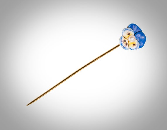 14k enamel & pearl pansy stick pin Larter