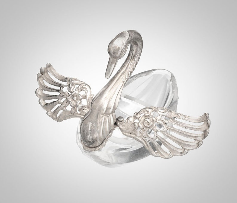 Sterling /& cut glass swan with articulated wings double well salt cellar