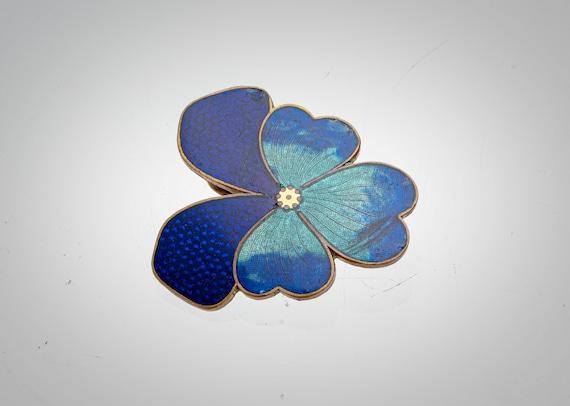 Victorian enamel pansy sash buckle