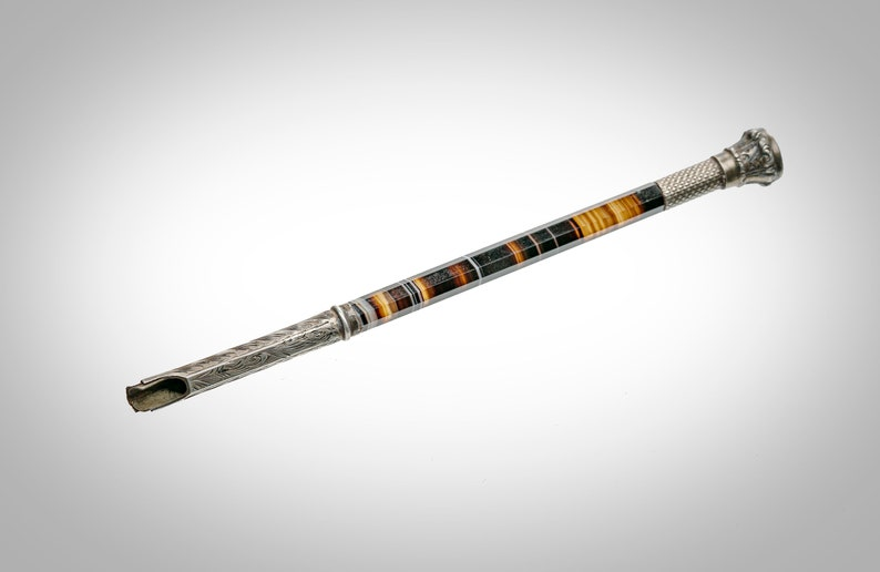 antique banded agate /& silver dip pen with seal end