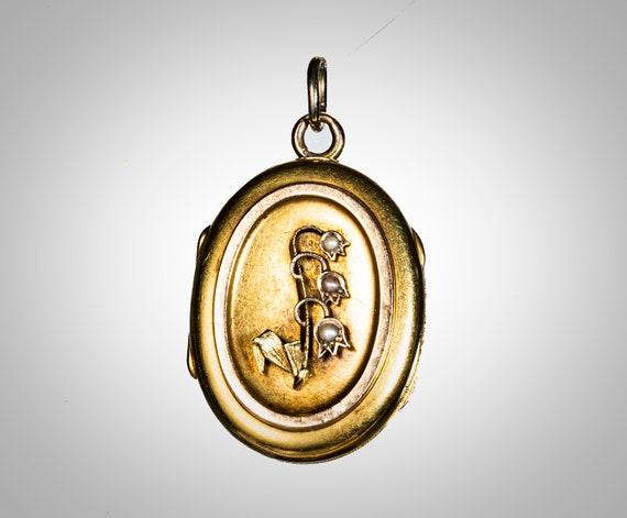 Victorian 14k & pearl oval locket