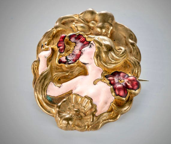 Art Nouveau enameled woman & poppies brooch Bohemi