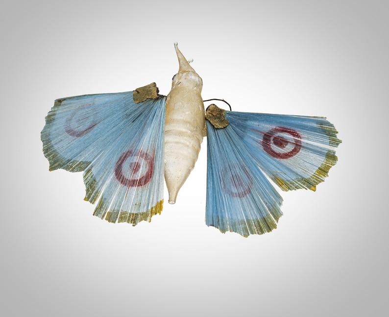 Antique German blown spun glass blue butterfly Xmas ornament