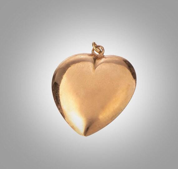 14k rose gold puffed heart pendant - image 2