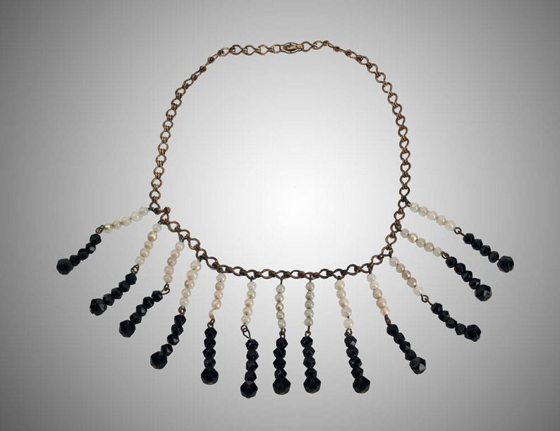 Antique Egyptian Revival glass beaded necklace