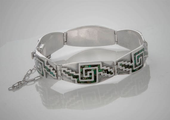Miguel Melendez sterling Mexico bracelet with inla