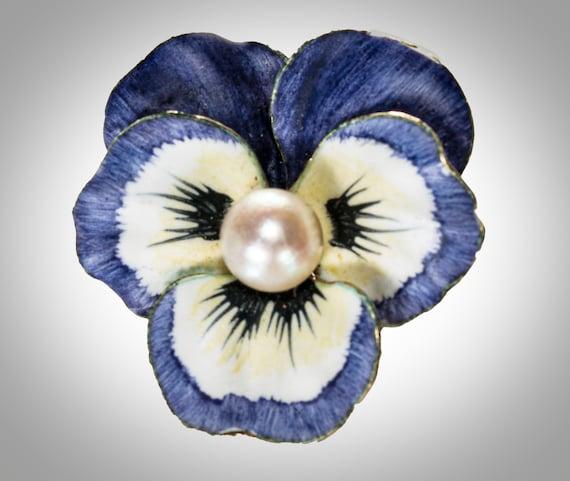 14k purple & white enameled pansy brooch/pendant w