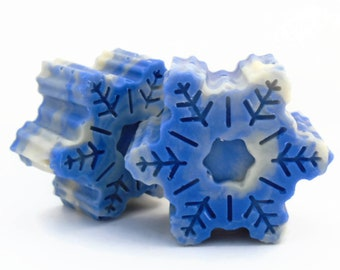 Snowflake Soap, Christmas Soap, Stocking Stuffer for Her, Scented in North Pole Fragrance