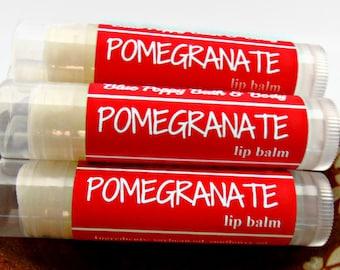 Pomegranate Lip Balm, Stocking Stuffer, Small Christmas Gift, Moisturizing for Lips