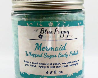 Mermaid Sugar Scrub, Whipped Body Polish, Emulsified Scrub, Gift for Her, Body Scrub