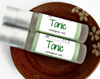 Tonic Cologne, Roll On Bottle, Fathers Day Gift, Gift for Him, Boyfriend Gift, Unisex Fragrance, Sage + Mint, Cologne Oil