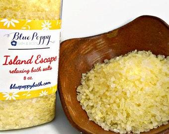Island Escape Bath Salts, Sweet Coconut & Mandarin, Tropical Island Fragrance, Bath Soak, Epsom Salt Bath