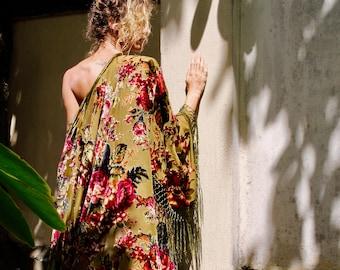 11d6a60cf5 Floral Silk Kimono Robe - Gypsy Kimono Robe - Boho Kimono Robe - Beach  Kimono - Kimono Plus Size