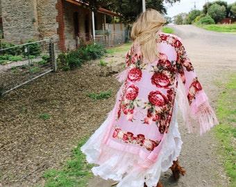 Boho Bridal Velvet Robe - Bridal Party Silk Kimono Robes - Silk Bridal Kimono - Silk Bridesmaid Kimono Robe - Bridal Gypsy Kimono Robe