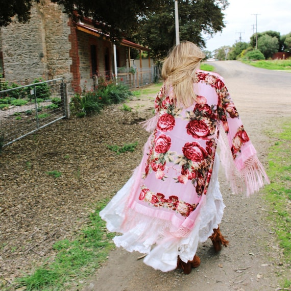 Boho Braut samt Gewand Braut Partei Seide Kimono-Roben | Etsy