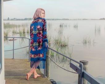 Gypsy Kimono Jacket - Bohemian Festival Clothing - Fringe Kimono - Kimono Coat - Floral Kimono - Velvet Kimono - Kimono Robe - Boho Kimono