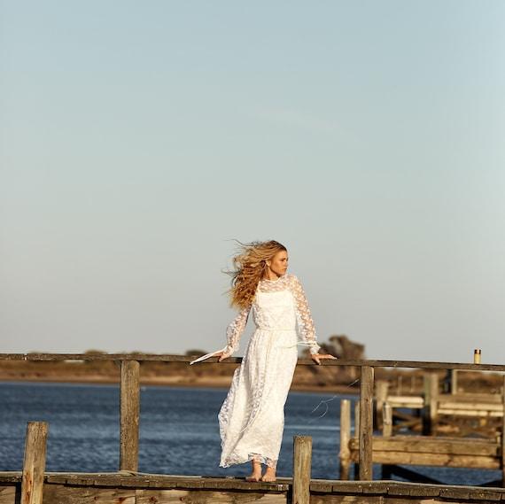 Lace Long Sleeve Dress - Boho Lace Wedding Dress -