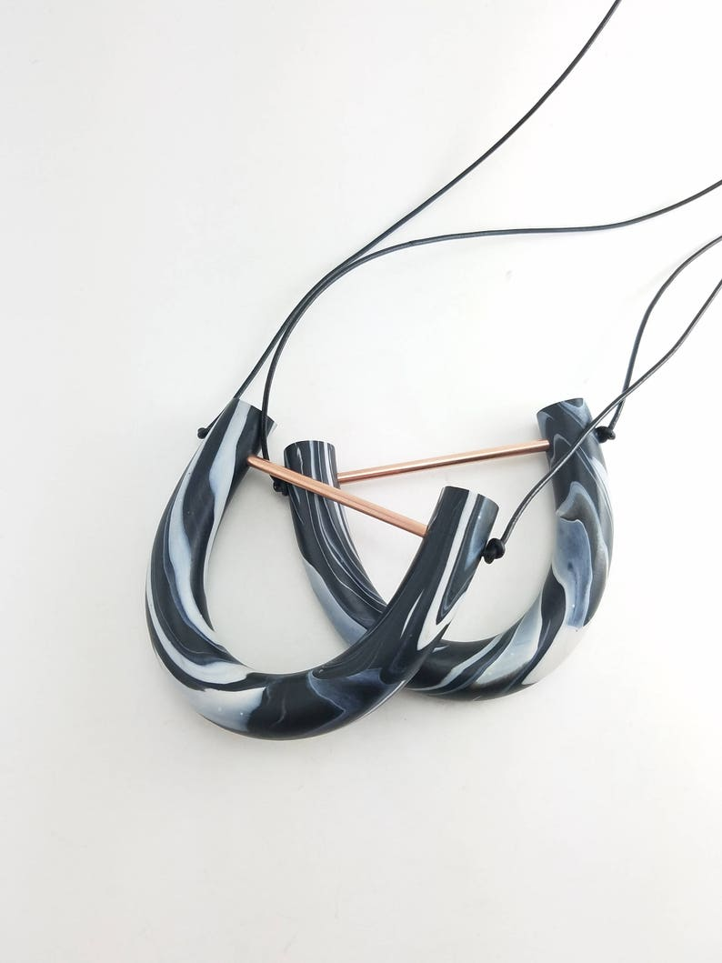 Black and White Necklace/ Marble Clay Tube Pendant Necklace image 0