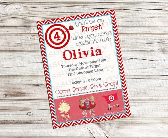 Printable 5x7 Sip And Shop Girl Birthday Invitation Shopping