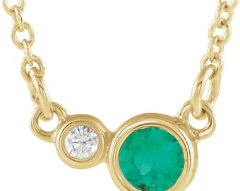 Satellites Birthstone™ Necklace - 14kt Solid Gold & Diamond