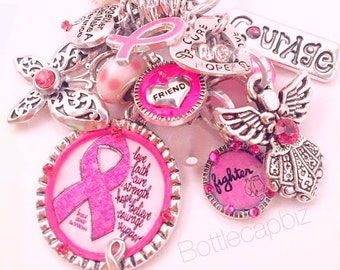 Breast Cancer Awareness/Support KeyChain/PurseCharm/BagCharm Pink/White
