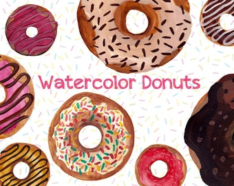 Donut clip art with hand painted watercolor donuts, with bright colors, sprinkles, chocolate, delicious clip art images (5180)
