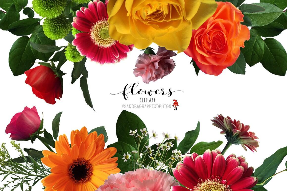 Flower clip art floral clip art flower bouquets flower | Etsy