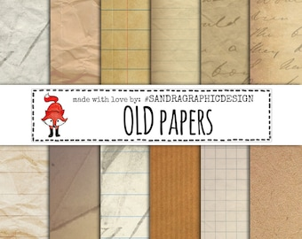 """Digital paper pack: """"OLD PAPER"""" with old paper backgrounds, instant download (1096)"""