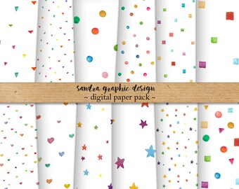 Watercolor digital paper with watercolor figure patterns, geometric shapes in happy colors for scrapbooking, cards, etc (1278)