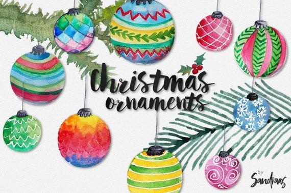 Christmas Ornament Clip Art.Christmas Clip Art Christmas Ornaments Hand Painted Watercolor Christmas Baubles 10 Clip Art 300 Dpi Png Files 5182