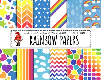 """Digital paper: """"RAINBOW PATTERNS"""" with pretty patterns with dots, stars, hearts, etc, in rainbow colors (1162)"""