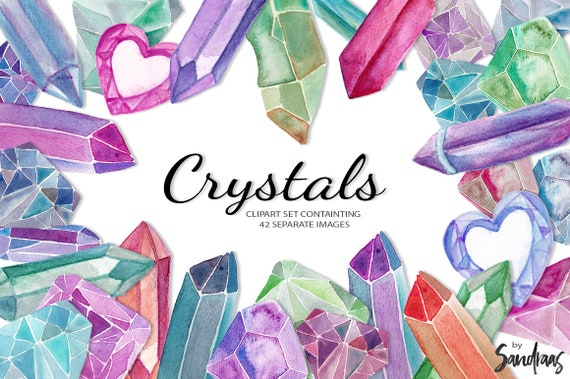 8 x Handpainted Watercolor Diamonds High Resolution 300dpi Clipart Images JPG and Transparent PNG