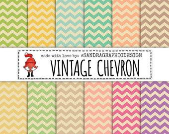 "Chevron digital paper: ""VINTAGE CHEVRON"", chevron patterns, vintage digital paper, chevron backgrounds (1119)"