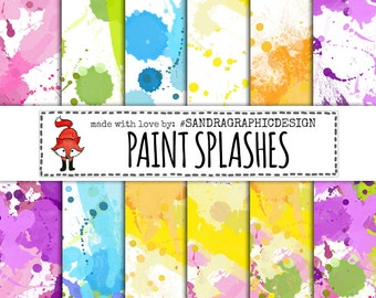 """Paint splashes digital paper:""""PAINT SPLASHES PAPER"""" with digital paper with paint splashes in various colors (1249)"""