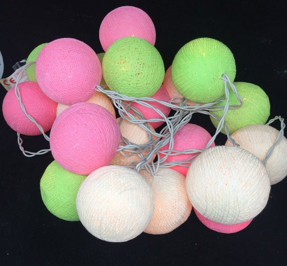 DIY pink gray green Cotton Ball Fairy String Lights Party Wedding Christmas