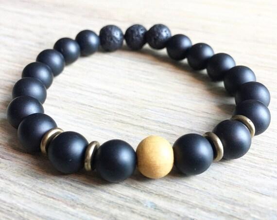 Onyx Lava Sandalwood Bracelet, Essential Oil, Aromatherapy, Yoga Bracelet, Meditation, Chakra Healing, Stretch Cord