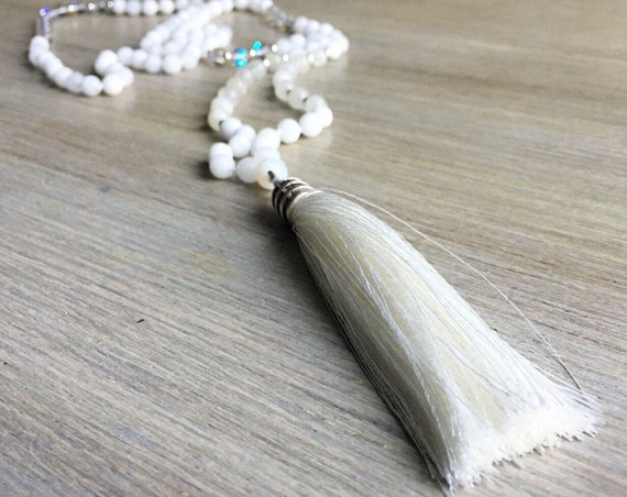 White Agate Moonstone Agate Tassel Mala Beads, 108 Mala, Gemstone, Handmade, Hand-knotted, Meditation, Yoga, Prayer Beads, Chakra