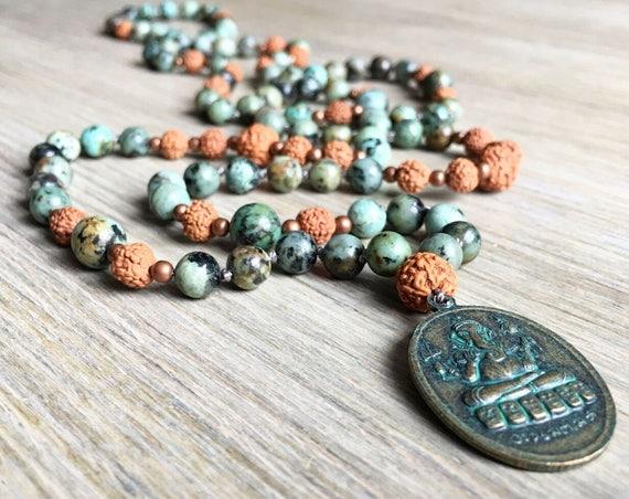 Rudraksha African Turquiose Mala Beads, 108 Mala, Gemstone, Handmade, Hand-knotted, Meditation, Yoga, Prayer Beads, Chakra