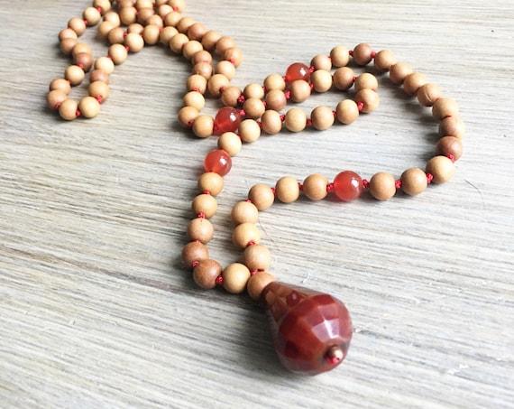 Sandalwood Carnelian Mala Beads, 108 Mala, Guru Bead, Handmade, Hand-knotted, Meditation, Yoga, Prayer Beads, Chakra, Healing