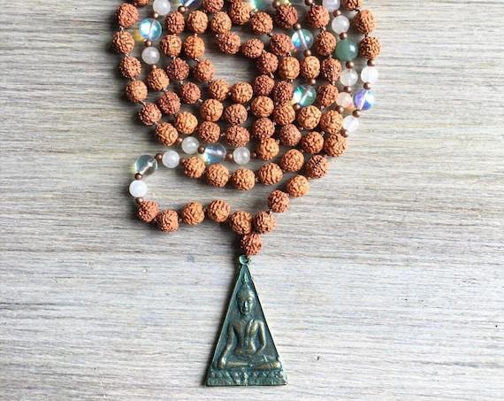 Rudraksha Aventurine Opalite Moonstone Mala Beads, 108 Mala, Gemstone, Handmade, Hand-knotted, Meditation, Yoga, Prayer Beads, Chakra