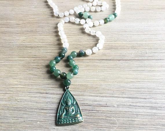 Moonstone Aventurine Buddha Amulet Mala Beads, 108 Mala, Gemstone, Handmade, Hand-knotted, Meditation, Yoga, Prayer